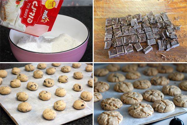 שלבי הכנת עוגיות טחינה ושוקולד