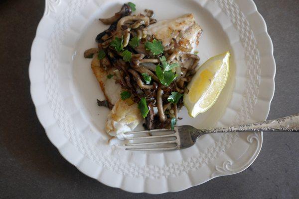 פילה דג דניס עם פטריות צרובות